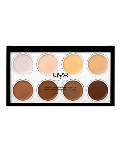NYX Professional Makeup Highlight & Contour Cream Pro Palette Contouring Kit in Crema, Otto Tonalità