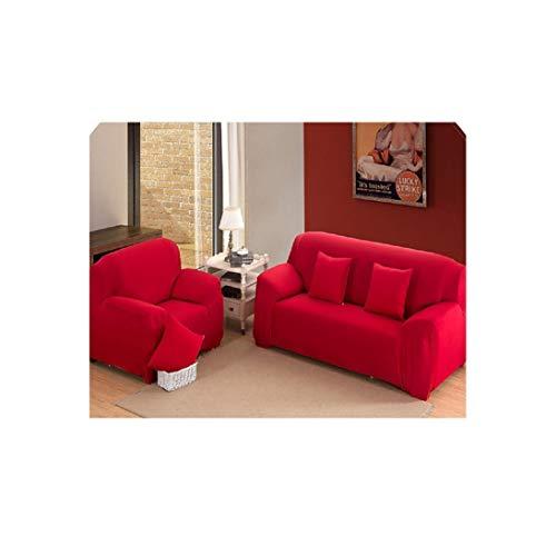 Sofa Slipcovers Spandex elastischer Polyester Couch Husse Stuhl Möbel-Schutz-Wohnzimmer, Rot, 3 Sitz (190-230Cm) -