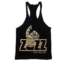 Flexz Fitness Oficial ZYZZ Singlet Camiseta de tirantes Stringer chaleco para espalda cruzada y-Back Veni Vidi Vici, Black Gold, medium