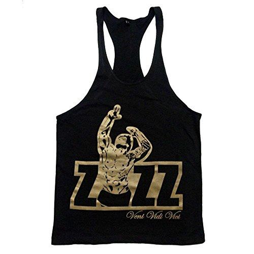 Zyzz Offizielles Singlet Tank Top Muskelshirt-Racerback Y-Rücken Veni Vidi Vici Größe L schwarz / goldfarben (Singlet Racerback)