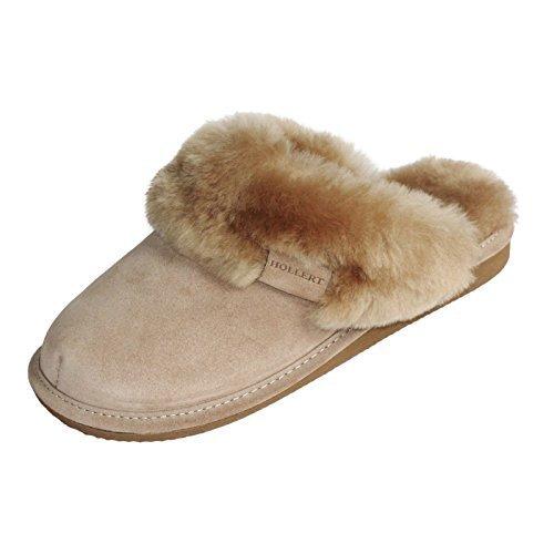 der-Fellmann Lammfell Hausschuhe Pantoffeln Malibu beige Schuhgröße EUR 38