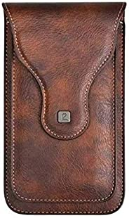 YAAMYA Multi Function Leather Mobile Phone Waist Bag Holster Belt Clip Case with 2 Pocket for 6.5 inch Mobile