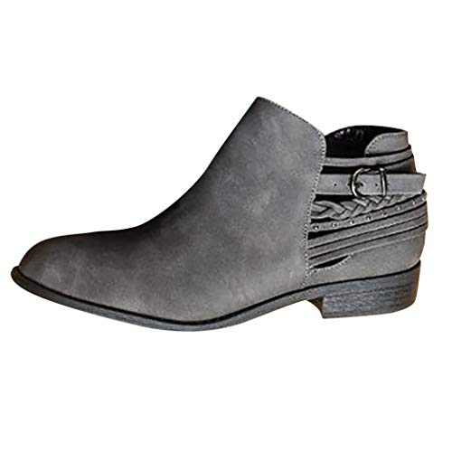 TIFIY Damen Boots Fashion Retro Womens Bequeme Low-Heele Zipper rutschfeste römische Schuh Short Boot Wild Draussen Freizeit Mode Schuhe(Grau,41) -