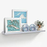 AHDECOR Picture Ledge Shelves White MDF Floating Wall Shelves for Picture Frames and Books, 91.44 x 10.16cm, 1-Pack