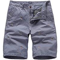Pantalones Cortos De Hombre Exquisito Jacquard PatróN De Bordado Confort Transpirable Lavado De La Piel Ropa De Trabajo Diario Al Aire Libre Pantalones Informales