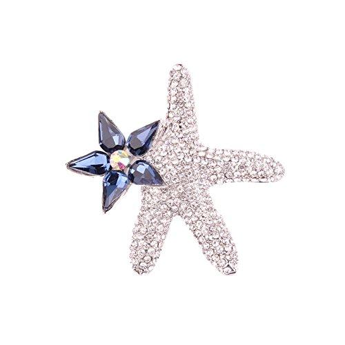 glänzende Mode Mode schöne Brosche Pins Rücken Elektrische kommerzielle Flash Sea Star glänzende Mode Mode schöne Brosche Pins Rücken Mode Mode schöne Brosche Pins Rücken glänzenden Mode Mädchen Blau -