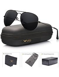 LUENX Aviator Sunglasses Polarized Mens Womens Black Lens Black Metal Frame 60mm