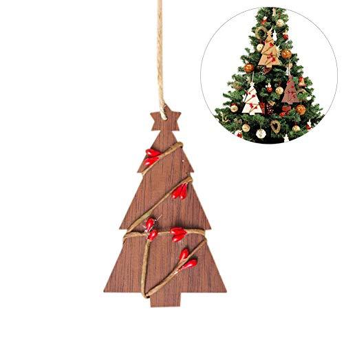 Lot de 5 décorations de Noël en rotin pour décoration de fête, décoration de Noël, pendentif, planche en bois, décoration de Noël, décorations décoratives, marron