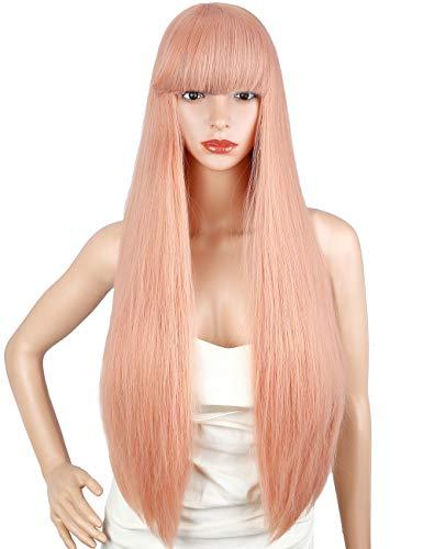 Kalyss 28 Zoll weibliche lange gerade hochwertige synthetische rosa Perücke mit Pony Perücke für ()