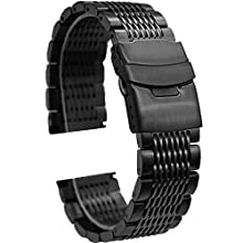 24mm Watch Strap Replacement Metal Watch Band Bracelet for Mens Black Mesh Watch Strap Solid Deployment Clasp
