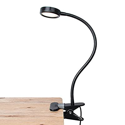 LEPOWER LED Reading Light, Clip on Light, Flexible Bed Light with 2 Brightness Levels, AC Adapter and USB Cord Included for Desk, Headboard (Black) from Prdigy3