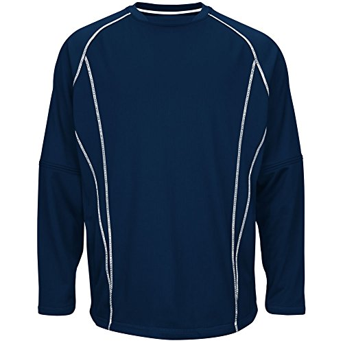 Majestic–Giacca in pile pratica pullover Navy|White