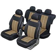 Funda asiento auto universal para 4x 4y SUV Beige y negro, microfibra diseño y confort