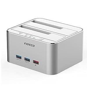 FIDECO Hard Drive Docking Station, Alluminio USB 3.0 Dual bay Hard Disk Docking Station con Hub per HDD e SSD da 2.5/3.5 Pollici SATA I/II/III, Supporto Clone Offline & 2 * 10 TB(Argento)