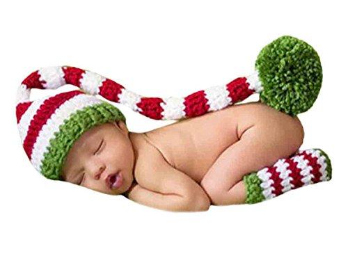 Happy Cherry Neugeborenes Baby Foto Tiere Kostüm Strickmütze mit langen Schwanz Fotografie Prop Handarbeit Bekleidungsset Fotoshooting Stricken Kostüm Baby Junge Trikot Foto Outfits Für 3-4 Monate