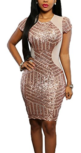 Boliyda Sexy Sexi Sommer Bodycan Slim Transparente Shine Sequins Club Kleid Clubwear Partywear Casual Tägliches Kleid für Damen Damen Dame Champagner XL Größe