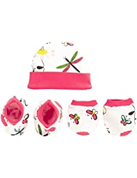Pebbles Baby 100% Cotton Cap, Mitten (Hand Gloves), Bootie Combo Set for Toddler/Infant / New Born Baby, Age 0 to 12 Months