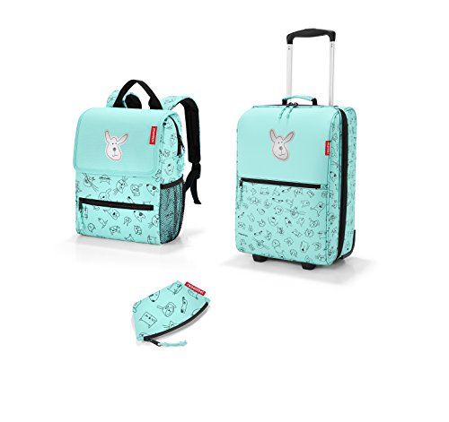 sehr schönes Kinderreiseset von reisenthel, 3-tlg. bestehend aus trolley XS/Reisekoffer, Rucksack/Backpack und kleine Geldbörse in dem modernen Design Cat´s & Dog´s mint