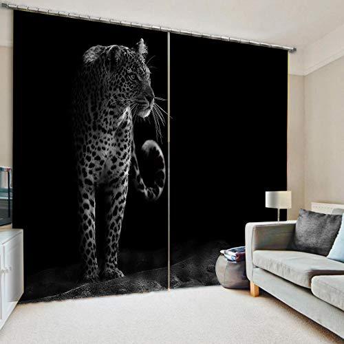 WKJHDFGB Verdunkelungs Gardinen Blickdicht Schlafzimmer Vorhang 3D Print Schwarzweiss-Leopard Hochpräzise Schwarze Seide 215X260Cm