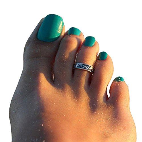 Malloom®Venta caliente: 2 piezas ajustable mujer retro metal plata anillo del dedo del pie