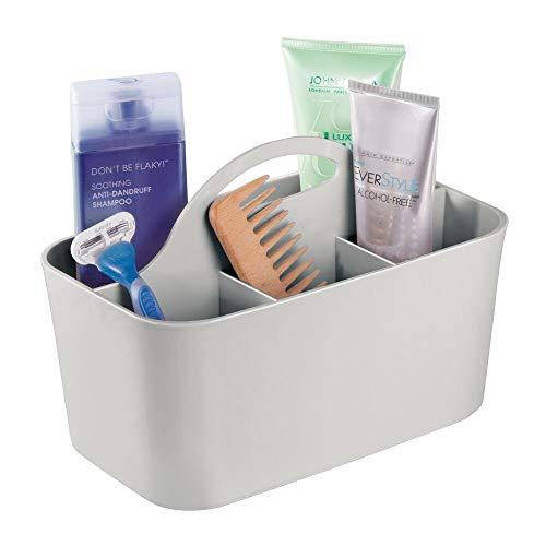 mDesign Badezimmer-Korb mit Griff - als Kosmetik-Organizer, Küchen-Aufbewahrungsbox oder Gästehandtuchhalter - Bad-Box aus hellgrauem Kunststoff - 15,24 cm x 24,4 cm x 17,1 cm