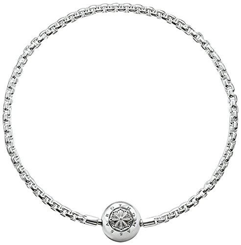 Thomas Sabo Damen Herren-Armband Karma Beads 925 Sterling SilberKA0001-001-12- , Länge -L19 - Silber