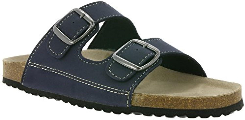 Supersoft by Indigo Herren Hausschuhe Pantoffeln 174 001 mit Lederfußbett in Navy (46 EU)