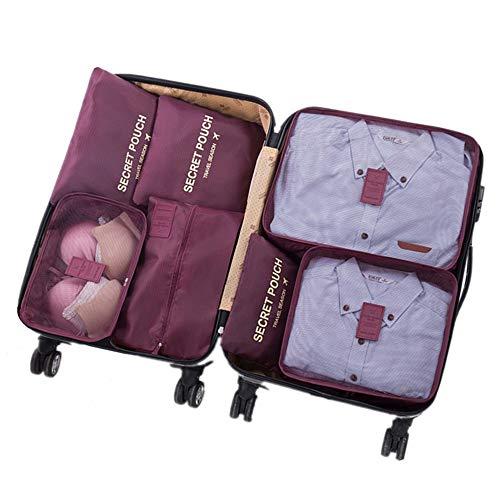 7 Set Kleidertaschen - 3 Packwürfel + 3 Taschen Tasche + 1 Schuhtasche - Perfekter Reisegepäck-Organizer(Wine red)