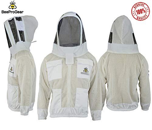 Bee Jacket JFV - 3X Layers Sicherheit, Unisex White Fabric Mesh Imkeranzug, Imkeranzug Bee Veil Imker Outfit Imker Hut Fencing Veil (2XL)