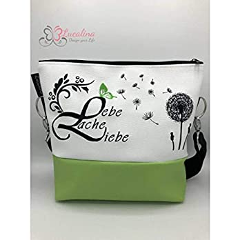 Handtasche Lebe Liebe Lache Pusteblume lemon Schultertasche/Umhängetasche *bestickt
