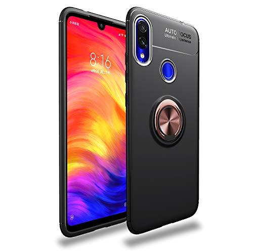 Markest Funda de Teléfono Móvil Inteligente para Xiaomi Redmi Note 7, con y Soporte Magnético para Automóvil Función Tope a Prueba de Golpes de Moda (Soporte de Oro Rosa con Cubierta Negra)