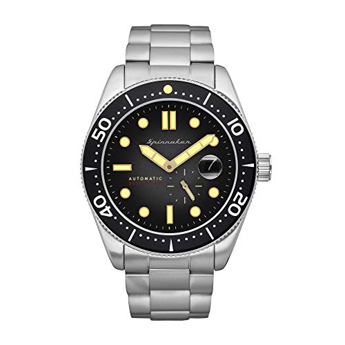 SPINNAKER Men's Croft 43mm Steel Bracelet & Case Sapphire Crystal Automatic Black Dial Watch SP-5058-22