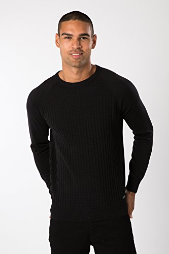 Threadbare Vienna Tricot Gaufré Pull-over Pull Col Rond Noir