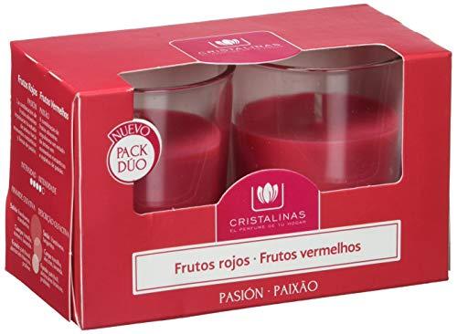 CRISTALINAS Pack Duo Velas Frutos Rojos, Cera, Rojo, 11.6x6x7 cm, 2 Unidades