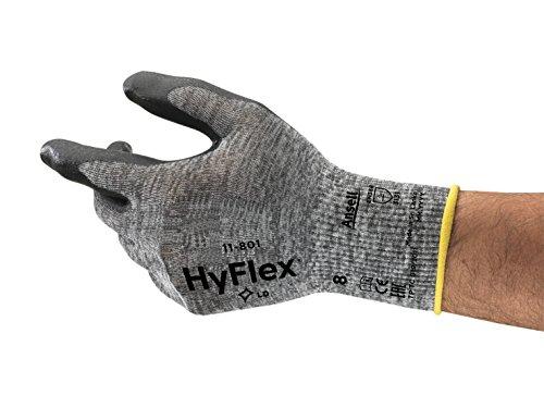 Ansell HyFlex 11-801 Mehrzweckhandschuhe, Mechanikschutz, Schwarz, Größe 9 (12 Paar pro Beutel)