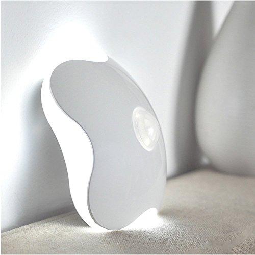 Preisvergleich Produktbild ONEU Kleeblatt Nachtlicht Bewegungsmelder LED Drahtlos Stick überall Energiesparlampe, Kreativen Menschlichen Körper Induktionslampe mit Batterie im Inneren für Kinder, Schlafzimmer, Wohnzimmer (Weiß)