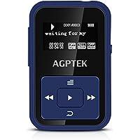 AGPTEK Lettore Mp3 Bluetooth, A12 Clip Mp3 Player 8 GB con Radio FM e Registratore vocale(Un Caso in Silicone Incluso), Colore Blu Scuro