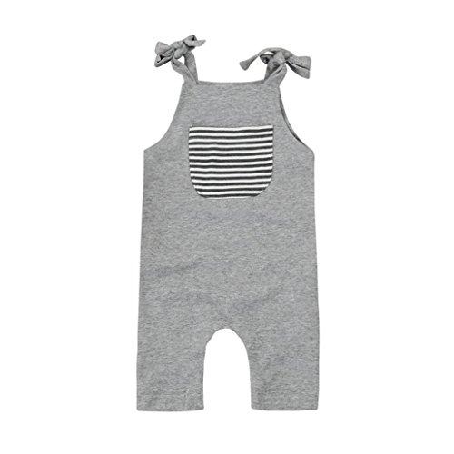 Hirolan Kleinkind Baby Jungen Mädchen Tasche Streifen Strampelhöschen Neugeboren Ärmellos Overall Grau Täglich Outfits Kleider (100cm, Grau) (Herren-multi-streifen-polos)