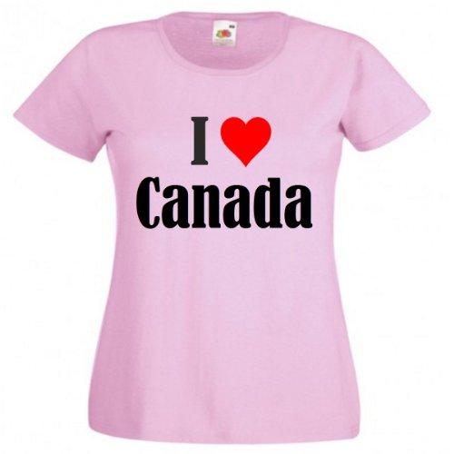 """T-Shirt """"I Love Canada"""" für Damen Herren und Kinder in Pink Pink"""