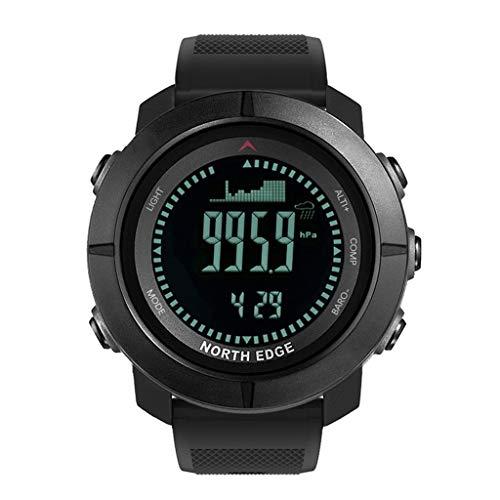 SIXCUP® North Edge Digitaluhr Sport Mann Stunden Laufen Schwimmen Militär Armee Uhren Höhenmesser Barometer Wasserdicht Kompass 50m Smartwatch (Schwarz)