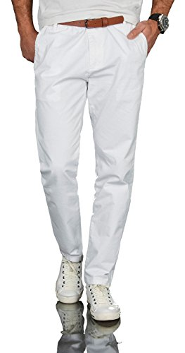 A. Salvarini Herren Designer Business Chino Hose Chinohose Regular Fit AS-095 [AS-095 - Weiss - W32 L30] (Designer Herren Gürtel)