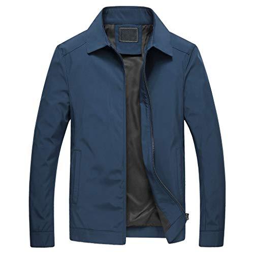 Herren Reißverschluss Jacke Freizeitmode Revers Reine Farbe Tasche Vater mittleren Alters Outwear Mantel Tops CICIYONER