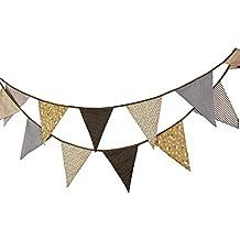 Guirnaldas de tela de algodón de 3,7 m del empavesado Decor 12 triángulo banderas banderín cara doble bandera bandera para decoraciones de fiesta de cumpleaños boda