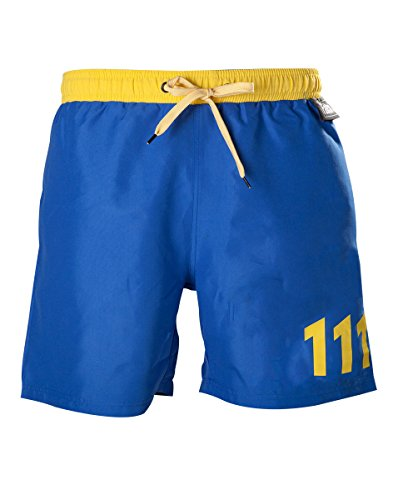 Preisvergleich Produktbild Fallout 4 Men's Vault 111 Swimming Shorts Trunks - Large / Blue / Yellow
