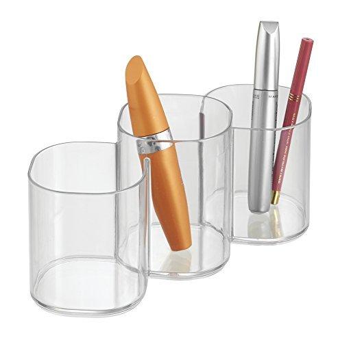 mDesign Kosmetik Organizer mit drei Fächern - praktische Ablage für Makeup Pinsel, Eyeliner, Lipgloss und andere Pflegeprodukte - Schminkaufbewahrung für den Waschtisch - durchsichtig (Kleber Von Beiden Seiten)