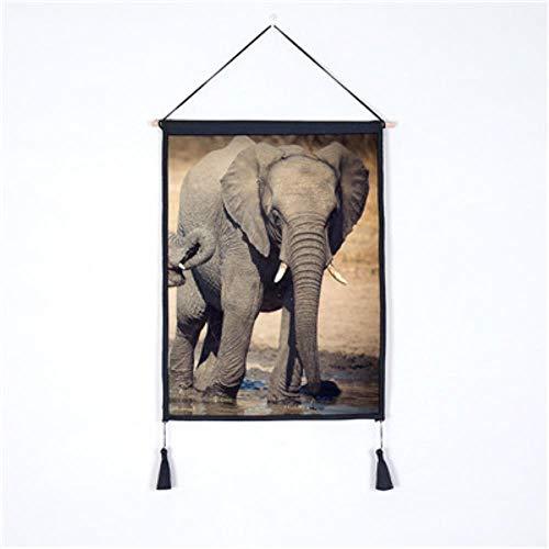 Rolle malerei rollbild elefant serie poster leinwand malerei hintergrund gemälde seide holzrahmen dekoration wohnzimmer schlafzimmer retro art30x40cm - Scrollen Leinwand