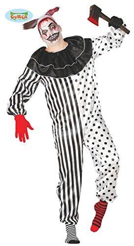 Pierrot Halloween Kostüm für Herren Clown Halloweenkostüm Clownkostüm Joker M/L, Größe:L (Herren Pierrot Kostüm)
