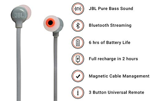 JBL T110BT Pure Bass Wireless in-Ear Headphones with Mic (Grey) Image 2