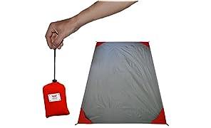 polaar® - XL d'extérieure, couverture de pique-nique et plage, imperméable à l'eau, ultra-léger, 200 cm x 150 cm, avec poche