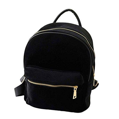 Skang Deman Rucksack Backpack Mode Wild Einfarbig Goldsamt Mit Reißverschluss Lässiger Daypacks Handtasche Schüler Bag Schultaschen Für Reisen(Einheitsgröße,Schwarz)